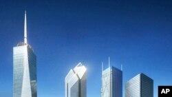 Prikaz novog izgleda lokacije na kojoj su nekoć stajali neboderi blizanci Svjetskog trgovinskog centra. Gradnja nekih od zgrada na fotografiji još nije započeta.