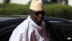 FILE - Gambian President Yahya Jammeh arrives for a summit in Abuja, Nigeria, Feb. 27, 2014.