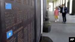 The list of the U.S. soldiers who were killed in the Korean War is displayed at the Korea War Memorial Museum in Seoul, South Korea, July 15, 2018. South Korea's Yonhap news service said North Korea is preparing to return remains of U.S. war dead on Frida