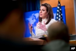 State Department spokesperson Morgan Ortagus speaks at a news conference at the State Department in Washington, June 17, 2019.