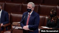 美国国会众议院少数党领袖麦卡锡(House Minority Leader Kevin McCarthy, R-CA)2021年1月13日在院会发言。(网络视频截图)