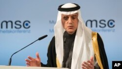 Saudi Arabia's foreign minister, Adel bin Ahmed Al-Jubeir, speaks on the last day of the Munich Security Conference in Munich, Germany, Feb. 19, 2017.