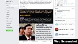 Bài viết về ông Long trên trang Facebook của Việt Tân.