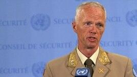 Maj. Gen. Robert Mood,  head of the U.N. observer mission in Syria, speaks to reporters at U.N. headquarters in New York, June 19, 2012