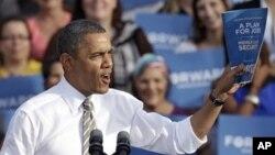 25일 미국 플로리다주 탬파에서 재선 유세 중인 바락 오바마 대통령.