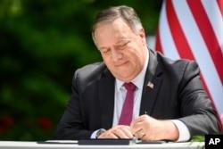 蓬佩奧國務卿與斯洛文尼亞簽署5G安全聯合聲明。(2020年8月13日)