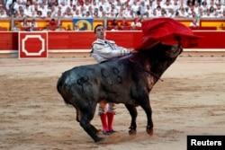 Matador Spanyol Antonio Ferrera tengah beraksi dalam Festival San Fermin di Pamplona, Spanyol, 11 Juli 2019. (REUTERS/Jon Nazca)