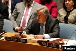 United Nations Secretary-General Antonio Guterres briefs the U.N. Security Council on Syria during a meeting of the Council at U.N. headquarters in New York, March 12, 2018.