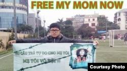 Con trai nhà hoạt động Bùi thị Minh Hằng, Trần Bùi Trung, vận động chính quyền trả tự do cho mẹ anh