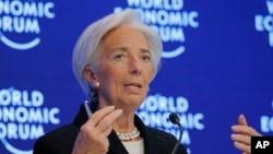 Bà Christine Lagarde, Tổng Giám Đốc IMF, tham dự Diễn đàn Kinh tế Thế giới tại Davos, Thụy Sĩ ngày 20/1/ 2017.
