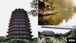 Lanskap Hangzhou di Tiongkok, terdiri dari kuil, pagoda dan kebun - perpaduan ideal antara manusia dan alam.