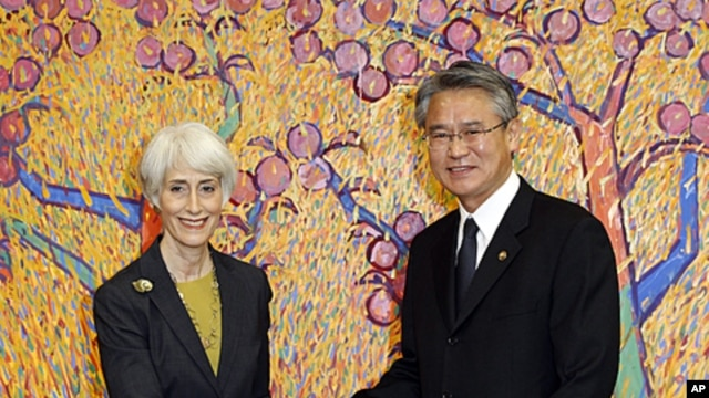 U.S. Undersecretary of State for Political Affairs Wendy Sherman with South Korean 1st Vice Foreign Minister Park Suk-hwan during their meeting at the Foreign Ministry in Seoul, South Korea, Nov. 22, 2011.