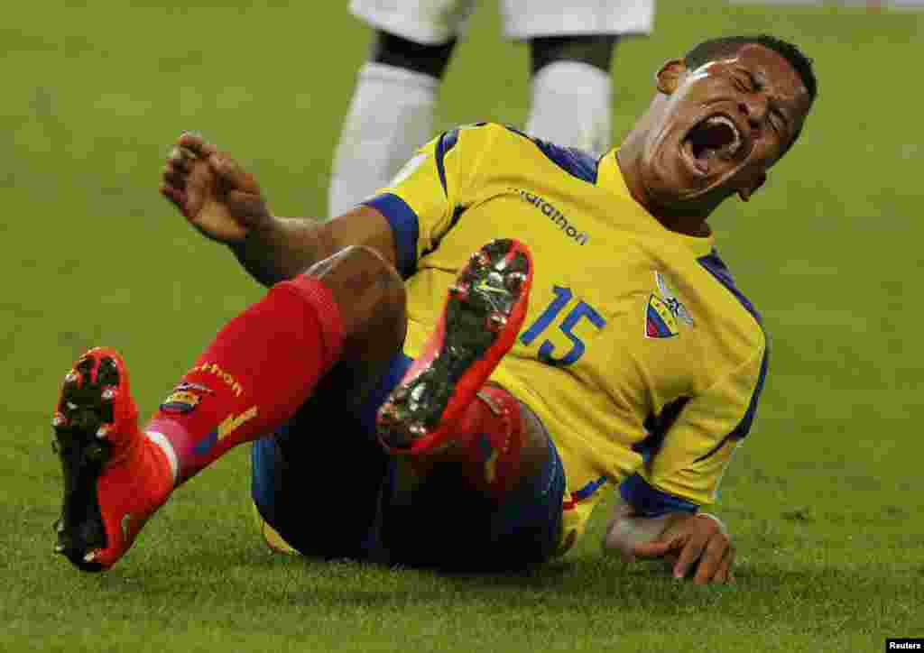 Ecuadorian Michael Arroyo grimaces in frustration after missing a goal against France at the Maracana stadium in Rio de Janeiro, June 25, 2014.