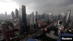 Gambar udara kawasan Sudirman Central Business District atau SCBD di Jakarta, 5 Mei 2017.