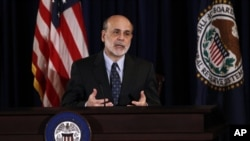 Ben Bernanke lors d'un point de presse à Washington (22 juin 2011)