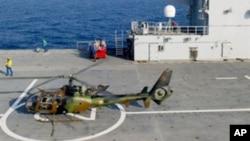 Helikopter yang diserang di lepas pantai Libya. (Foto: Ilustrasi)