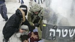 در جریان زد و خوردها، یک نیروی امنیتی لباس شخصی اسراییلی به همراه یک سرباز، یک معترض فلسطینی را در منطقه ای بین رام الله و اورشلیم دستگیر می کنند. ۱۵ مه ۲۰۱۱