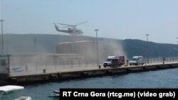 Helikopter MUP-a Crne Gore nadleće mesto nesreće (Foto: TVCG)