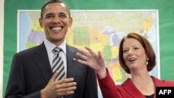 Prezident Obama va Avstraliya Bosh vazirasi Juliya Gillard, 16-noyabr, 2011-yil, Kanberra, Avstraliya