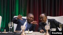 Perezida Paul Kagame w'u Rwanda na mugenzi we Filipe Nyusi wa Mozambike mu 2018