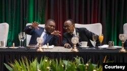 Presidentes Filipe Nyusi, de Moçambique, (esq) e Paul Kagame, do Ruanda (dir) (Foto de Arquivo)