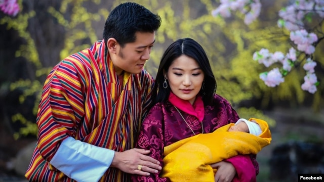 The photograph released by Bhutan's King King Jigme Khesar Namgyal Wangchuck on his Facebook page on Feb. 20, 2016, shows His Majesty The King and Her Majesty The Gyaltsuen with the royal baby His Royal Highness The Gyalsey at Lingkana Palace.