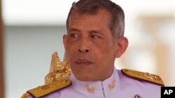 FILE - Thailand's King Vajiralongkorn Bodindradebayavarangkun addresses the audience at the royal plowing ceremony in Bangkok, May 12, 2017.