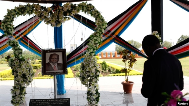 South Sudan's President Salva Kiir prays at the John Garang Memorial during events marking the third anniversary of South Sudan's independence, in Juba, July 9, 2014.