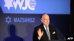 President of the World Jewish Congress (WJC) Ronald S Lauder delivers a speech in Budapest during the second day of the14th Plenary Assembly of World Jewish Congress, May 6, 2013.