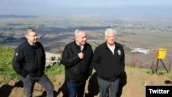 از چپ: لیندزی گراهام، بنیامین نتانیاهو و دیوید فریدمن (سفیر آمریکا در اسرائیل)