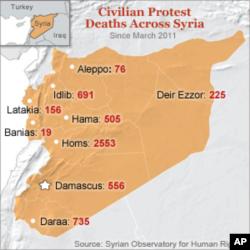 지난해 3월 이후 시리아 유혈사태로 인한 민간인 사망자 집계