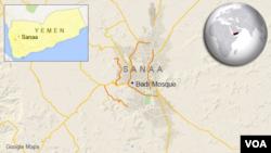 位於也門首都薩那的巴德爾清真寺位置圖