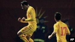 Македонскиот репрезентативец Агим Ибраими прославува по постигнатиот гол против Данска на пријателскиот натпревар на 6-ти февруари