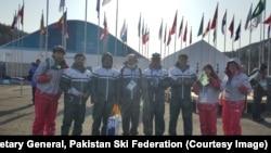Team Pakistan in Pyeongchang, South Korea, for the 2018 Winter Olympics. Left to right: Muhammad Karim, Alpine skier; Shahid Nadeem, secretary general, Pakistan Ski Federation; Amjad Wali, cross-country coach; Sohal Naeem, Alpine ski coach; Syed Human, cross-country skier.