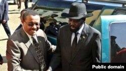 Waziri Mkuu wa Ethiopia Hailemariam Desalegn na rais Salva Kiir wa Sudan Kusini