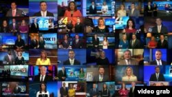 A still of video posted on Deadspin illustrates Sinclair Broadcasting TV stations' messaging.