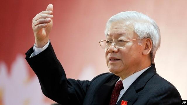 Tân Tổng Bí thư Đảng Cộng sản Việt Nam Nguyễn Phú Trọng phát biểu trong cuộc họp báo sau lễ bế mạc Đại hội toàn quốc tại Hà Nội, Việt Nam, thứ Năm ngày 28 tháng 1 năm 2016.