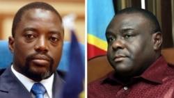 Président Joseph Kabila (G) na vice-président Jean-Pierre Bemba (D) na bilili bitiami bisika moko, janvier 2004.