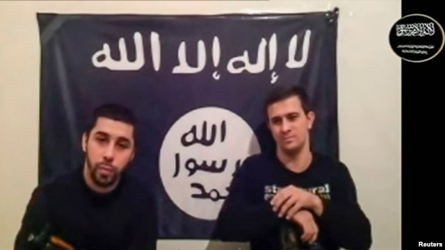 Men claiming to be from an Islamist militant group identifying itself as Vilayat Dagestan speak in this still image taken from video posted on the Internet on Jan. 20, 2014.