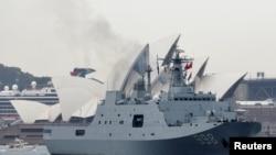 中国海军舰艇昆仑山号2019年6月7日驶离澳大利亚悉尼公园岛海军基地。