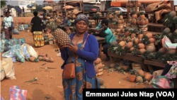 Une vendeuse d'ananas à Nkolmeyang, au Cameroun, le 24 mars 2020. (VOA/Emmanuel Jules Ntap).