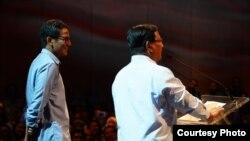 Prabowo Subianto dan Sandiaga Uno di depan 1.500 pengusaha di Djakarta Theater, Jakarta, Kamis (21/3) (Prabowo-Sandi Media Center)