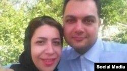 رضوان بیگی در کنار همسرش بهفر لاله زاری