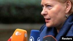 FILE - Lithuania's President Dalia Grybauskaite
