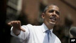 Tổng thống Barack Obama trong bài phát biểu về biển đổi khí hậu hôm 25/6/2013 tại Ðại học Georgetown ở Washington.