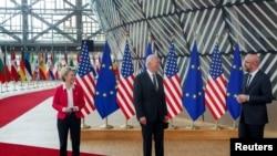 美國與歐盟領導人2021年6月15日在布魯塞爾舉行峰會(路透社)