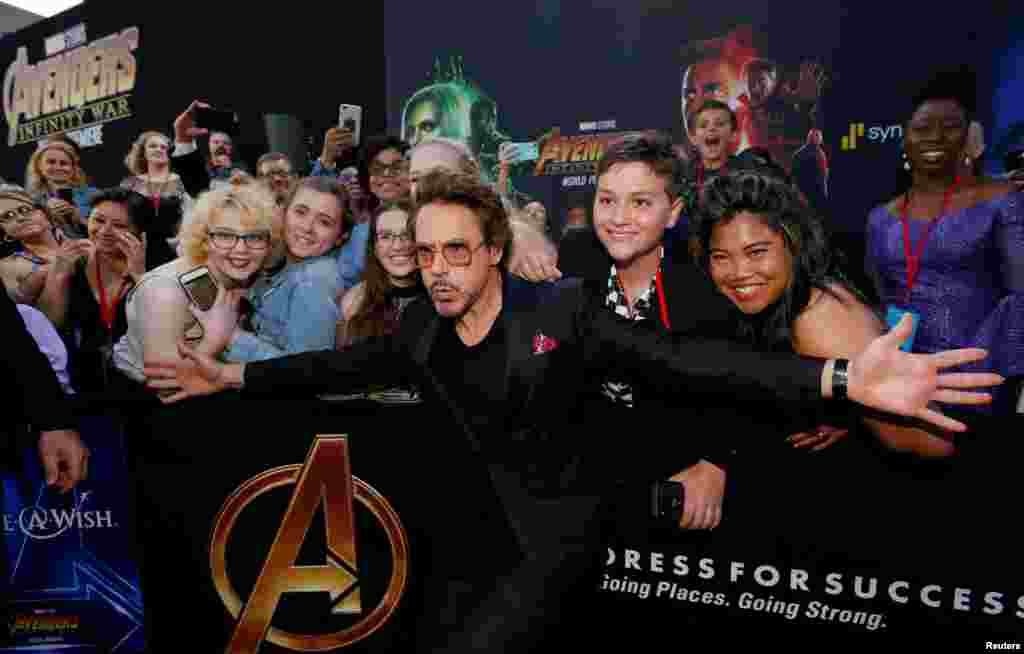 "Actor Robert Downey Jr. arrives at the world premiere of ""Avengers: Infinity War"" in Los Angeles, California."