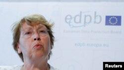 '통합개인정보보호규정'을 시행하기 위해 개설된 EU 개인정보보호위원회의 위원장인 안드레아 제리넥(Andrea Jelinek)이 25일 기자회견을 하고 있다. 유럽연합(EU)의 개인정보보호법규를 통합해 역내 모든 회원국에 적용하는 '통합개인정보보호규정(General Data Protection Regulation)'이 25일 자로 공식 발효됐다.