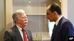 جان بولتون و همتای ترک او، ابراهیم کالین در کاخ ریاست جمهوری ترکیه - آنکارا
