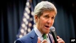 Ngoại trưởng Mỹ John Kerry phát biểu tại Đại sứ quán Mỹ tại Riyadh, ngày 24/1/2016.